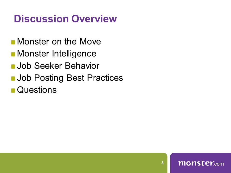 Discussion Overview Monster on the Move Monster Intelligence Job Seeker Behavior Job Posting Best Practices Questions 3