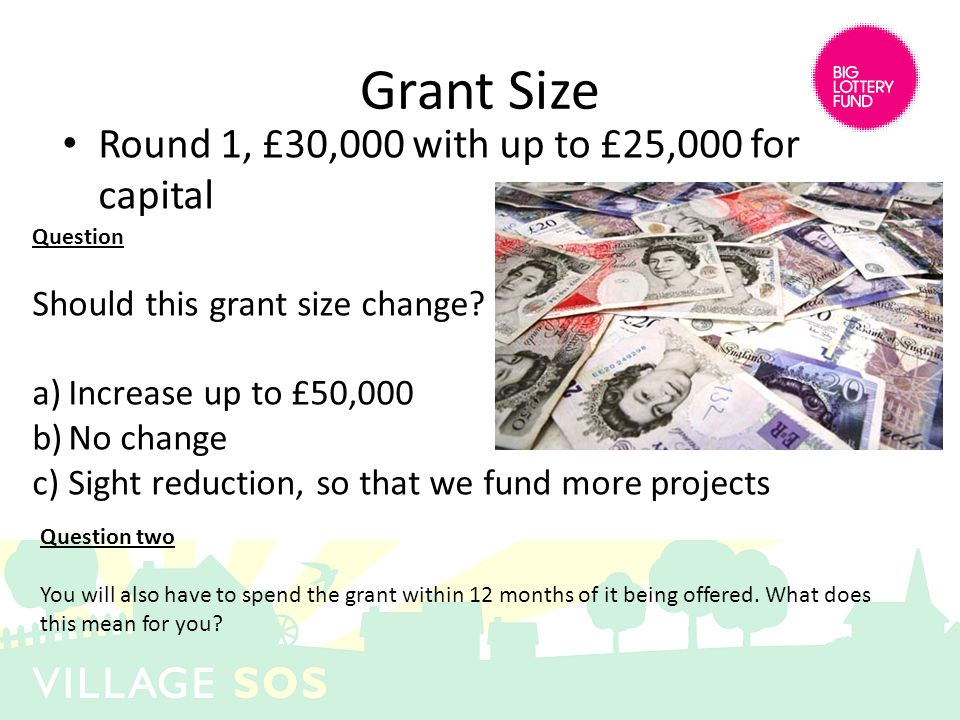 Grant Size Round 1, £30,000 with up to £25,000 for capital Question Should this grant size change? a)Increase up to £50,000 b)No change c)Sight reduct