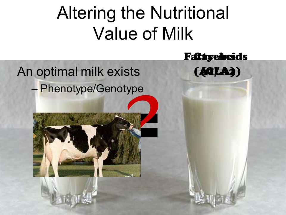 Caseins (A1/A2) Fatty Acids (CLA) Altering the Nutritional Value of Milk An optimal milk exists –Phenotype/Genotype =