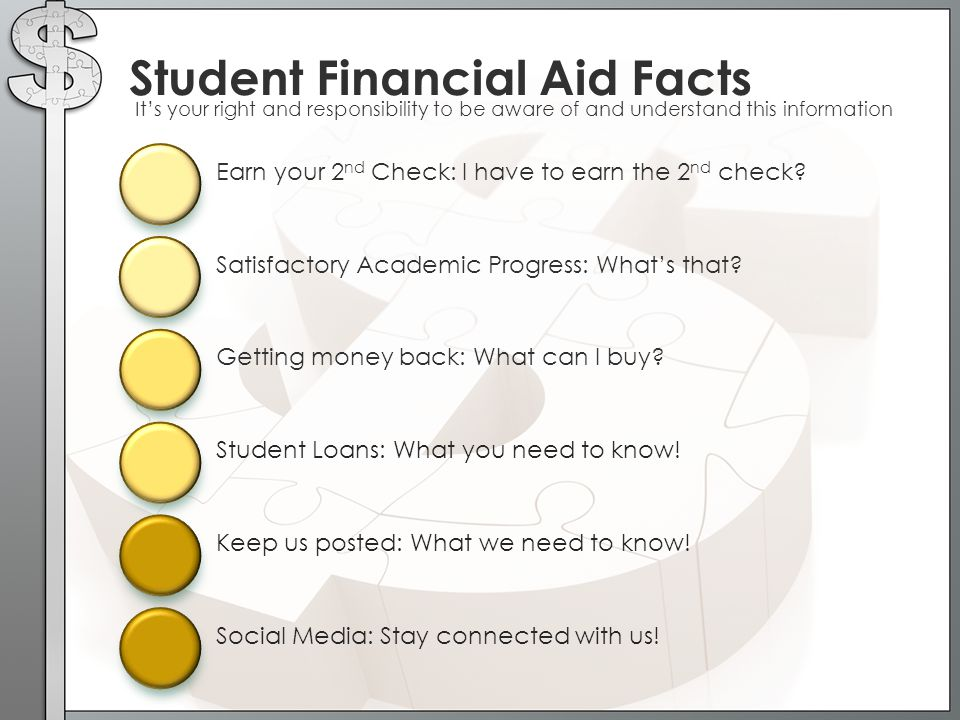 Getting money back: What can I buy? Student Financial Aid Facts It's your right and responsibility to be aware of and understand this information Earn