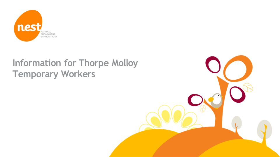 © NEST Corporation 2013 Information for Thorpe Molloy Temporary Workers