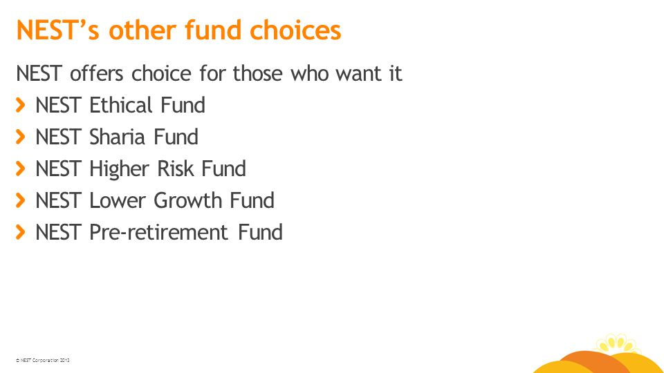 © NEST Corporation 2013 NEST's other fund choices NEST offers choice for those who want it NEST Ethical Fund NEST Sharia Fund NEST Higher Risk Fund NEST Lower Growth Fund NEST Pre-retirement Fund