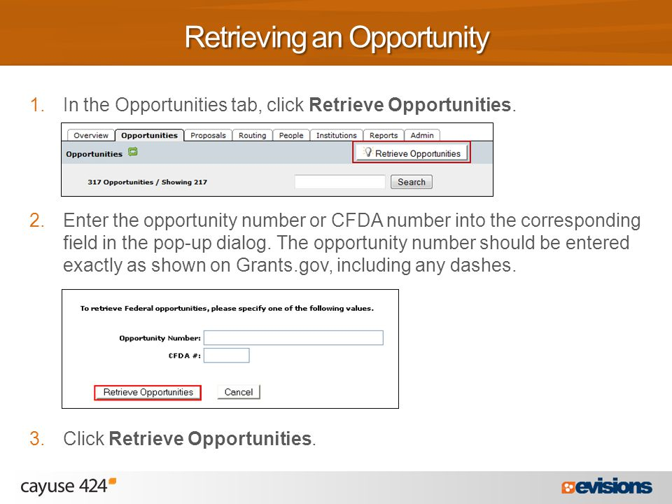 1.In the Opportunities tab, click Retrieve Opportunities.