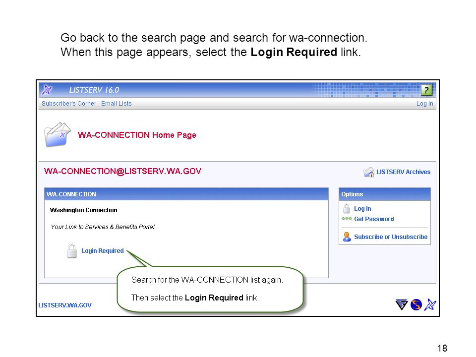 Go back to the search page and search for wa-connection. When this page appears, select the Login Required link. 18