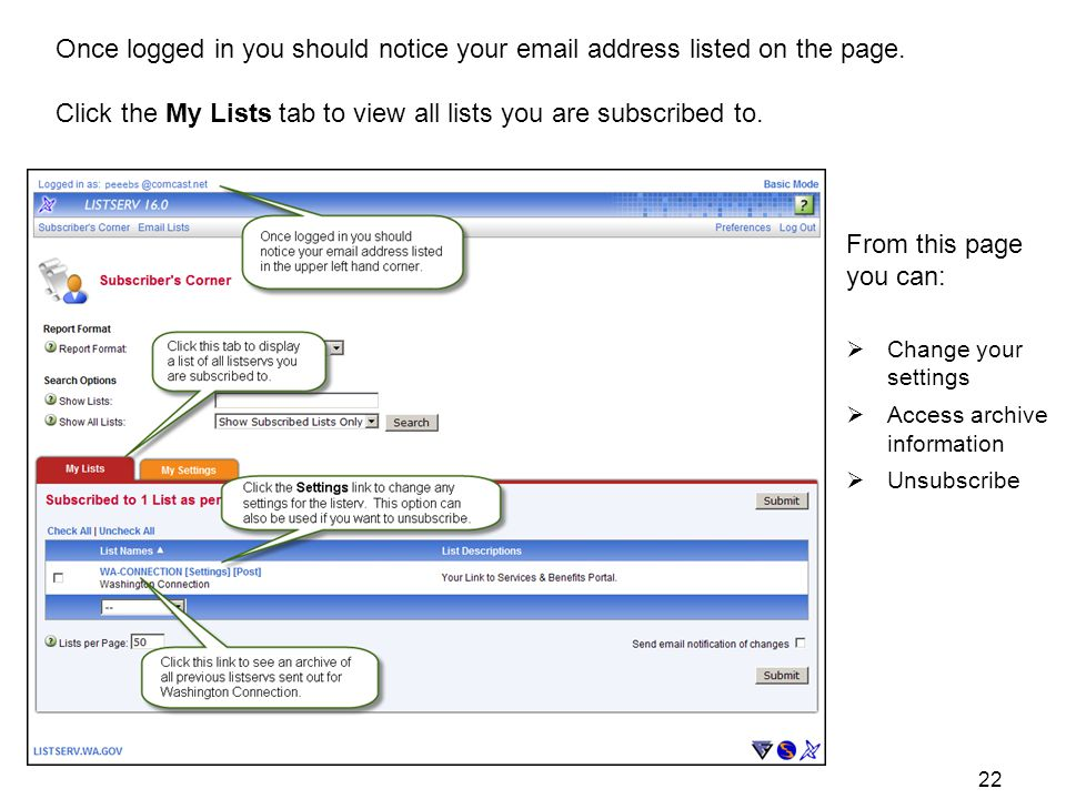 Once logged in you should notice your  address listed on the page.