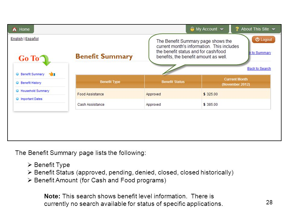 28 The Benefit Summary page lists the following:  Benefit Type  Benefit Status (approved, pending, denied, closed, closed historically)  Benefit Amount (for Cash and Food programs) Note: This search shows benefit level information.