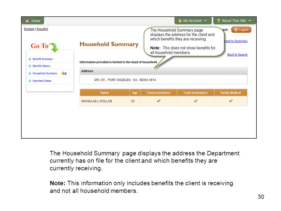 30 The Household Summary page displays the address the Department currently has on file for the client and which benefits they are currently receiving.