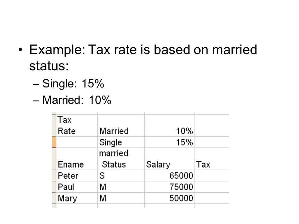 Example: Tax rate is based on married status: –Single: 15% –Married: 10%