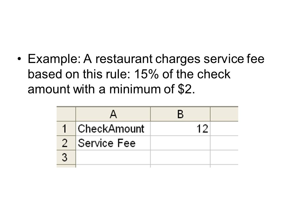Example: A restaurant charges service fee based on this rule: 15% of the check amount with a minimum of $2.
