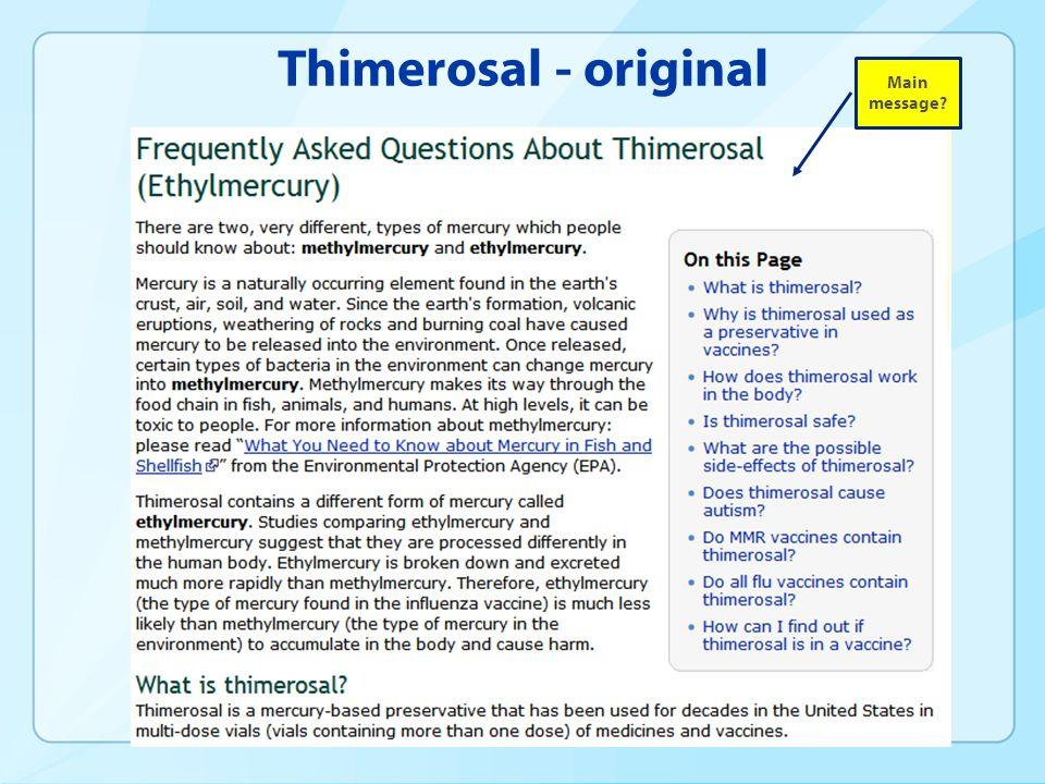Thimerosal - original Main message