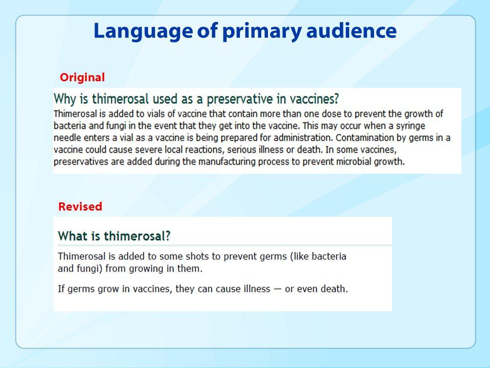 Language of primary audience Original Revised