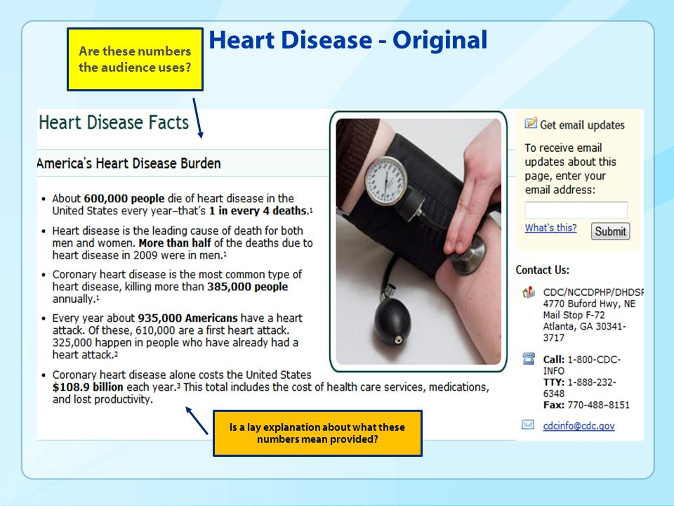 Heart Disease - Original Are these numbers the audience uses.