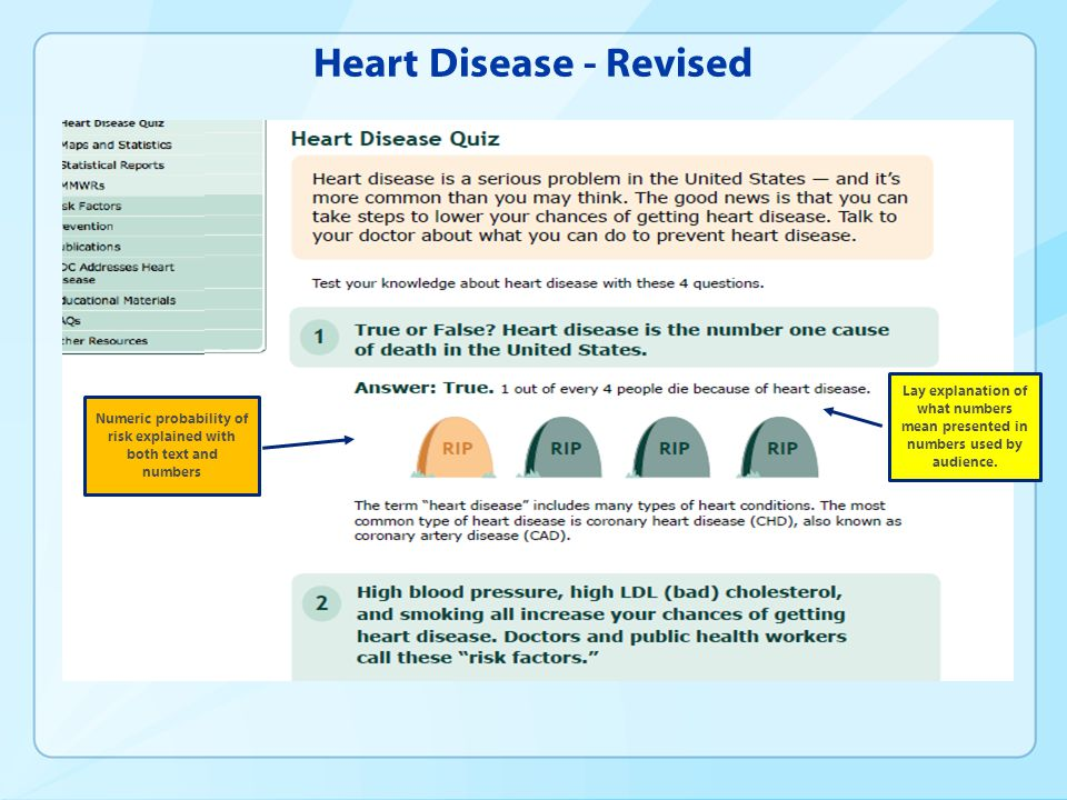 Heart Disease - Revised Lay explanation of what numbers mean presented in numbers used by audience. Numeric probability of risk explained with both te