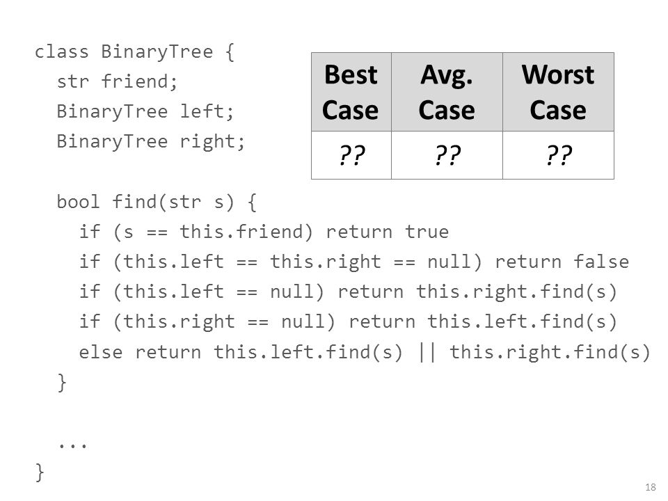 class BinaryTree { str friend; BinaryTree left; BinaryTree right; bool find(str s) { if (s == this.friend) return true if (this.left == this.right ==