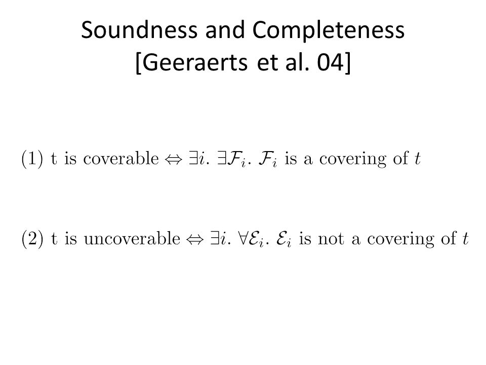Soundness and Completeness [Geeraerts et al. 04]