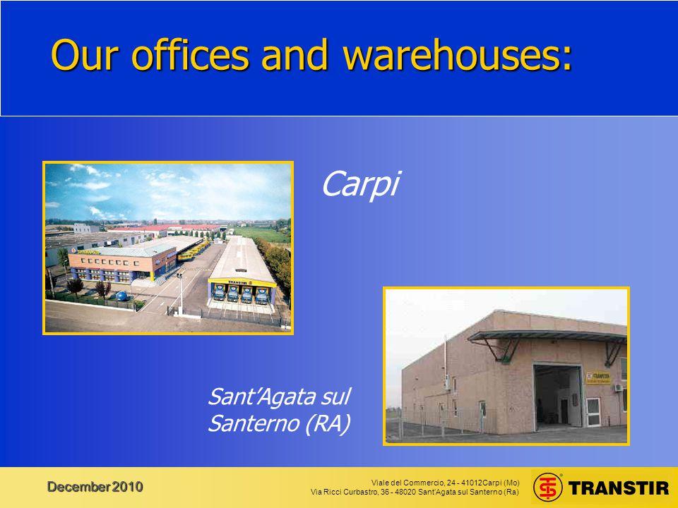 Viale del Commercio, 24 - 41012Carpi (Mo) Via Ricci Curbastro, 36 - 48020 Sant'Agata sul Santerno (Ra) December 2010 Web Services You can look at our DEMO at the page: http://www.transtir.com/