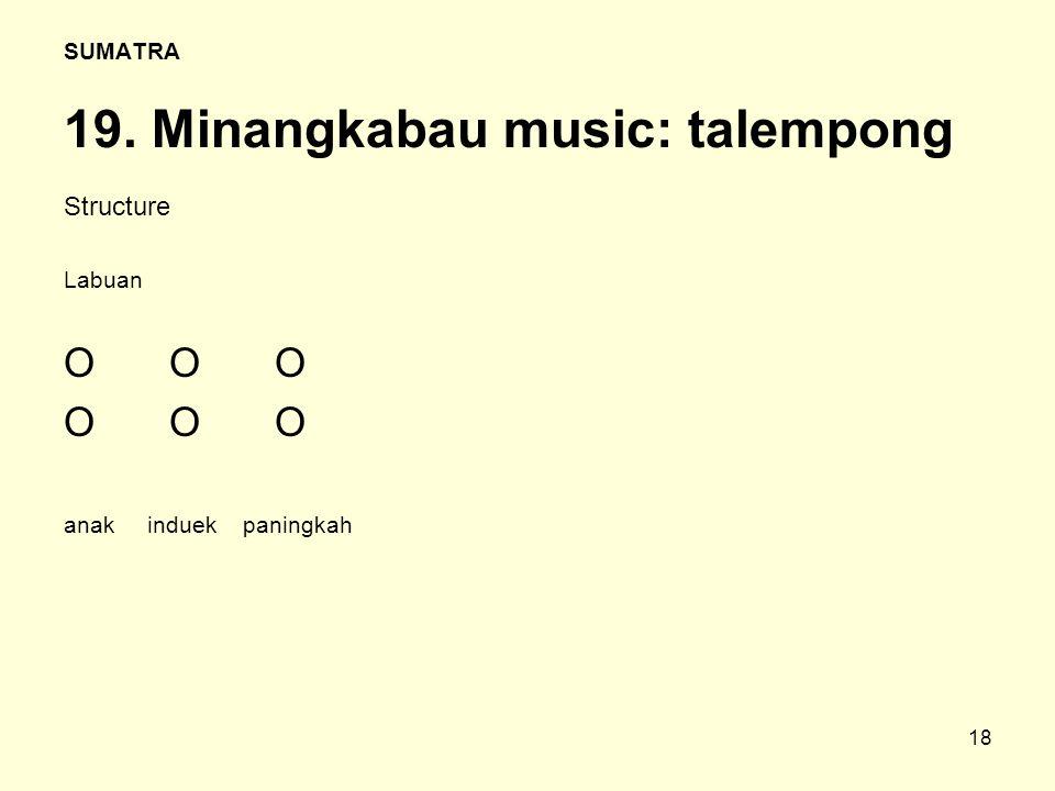 18 SUMATRA 19. Minangkabau music: talempong Structure Labuan OOO anak induek paningkah