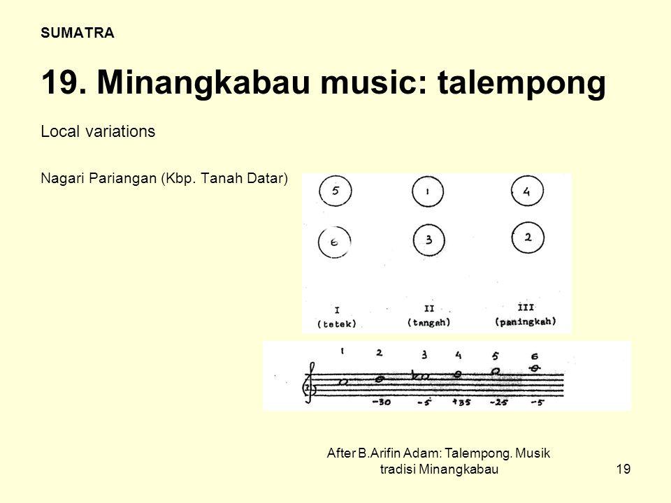 19 SUMATRA 19.Minangkabau music: talempong Local variations Nagari Pariangan (Kbp.