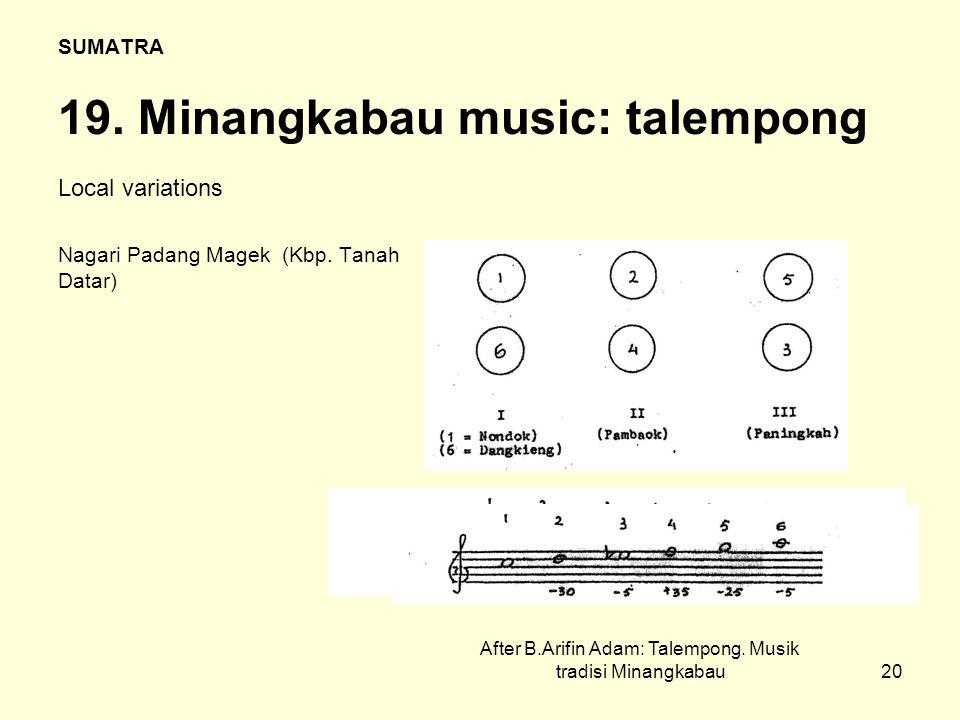 20 SUMATRA 19. Minangkabau music: talempong Local variations Nagari Padang Magek (Kbp.