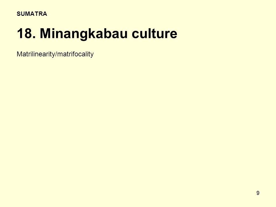 9 SUMATRA 18. Minangkabau culture Matrilinearity/matrifocality