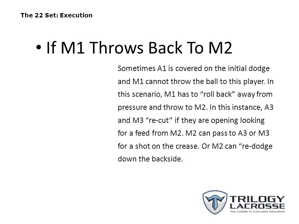 "The 22 Set: Execution Sometimes A1 is covered on the initial dodge and M1 cannot throw the ball to this player. In this scenario, M1 has to ""roll back"