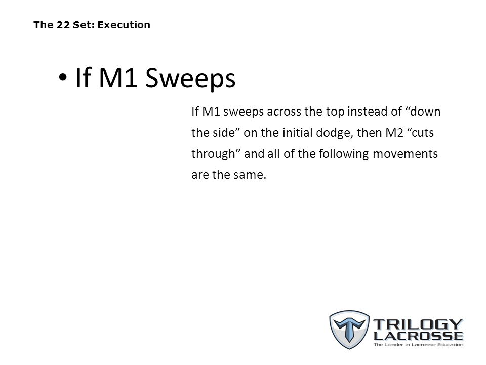 "The 22 Set: Execution If M1 sweeps across the top instead of ""down the side"" on the initial dodge, then M2 ""cuts through"" and all of the following mov"