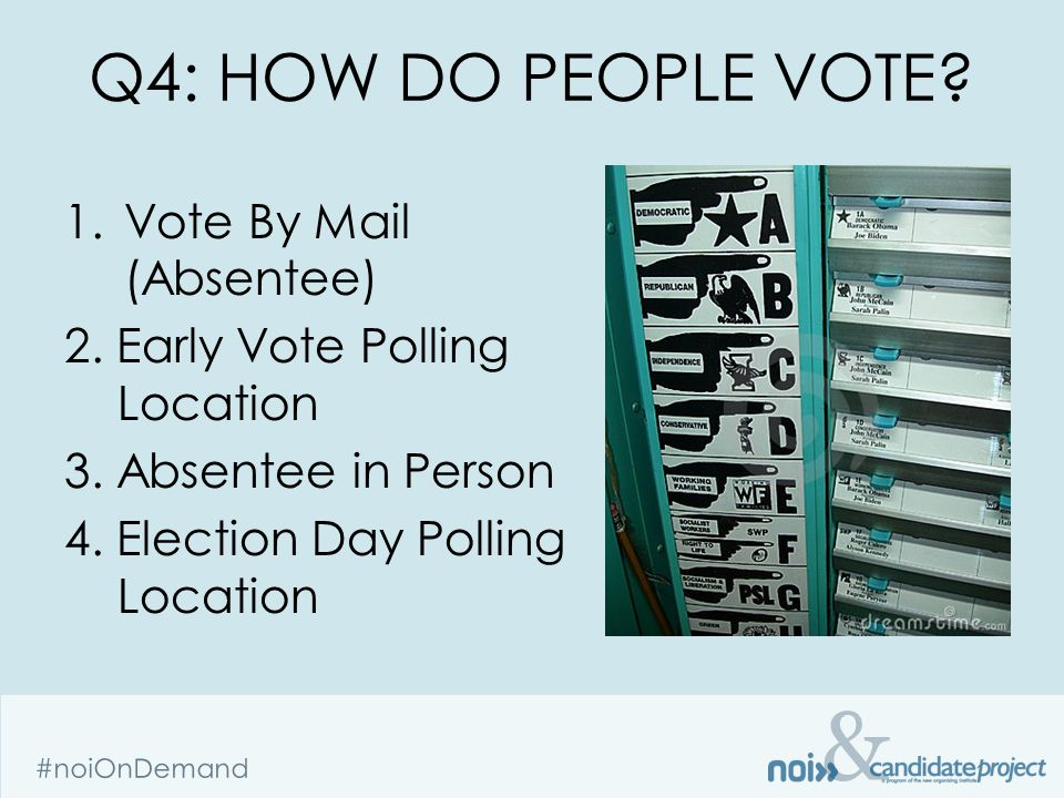 & #noiOnDemand Q4: HOW DO PEOPLE VOTE. 1.Vote By Mail (Absentee) 2.