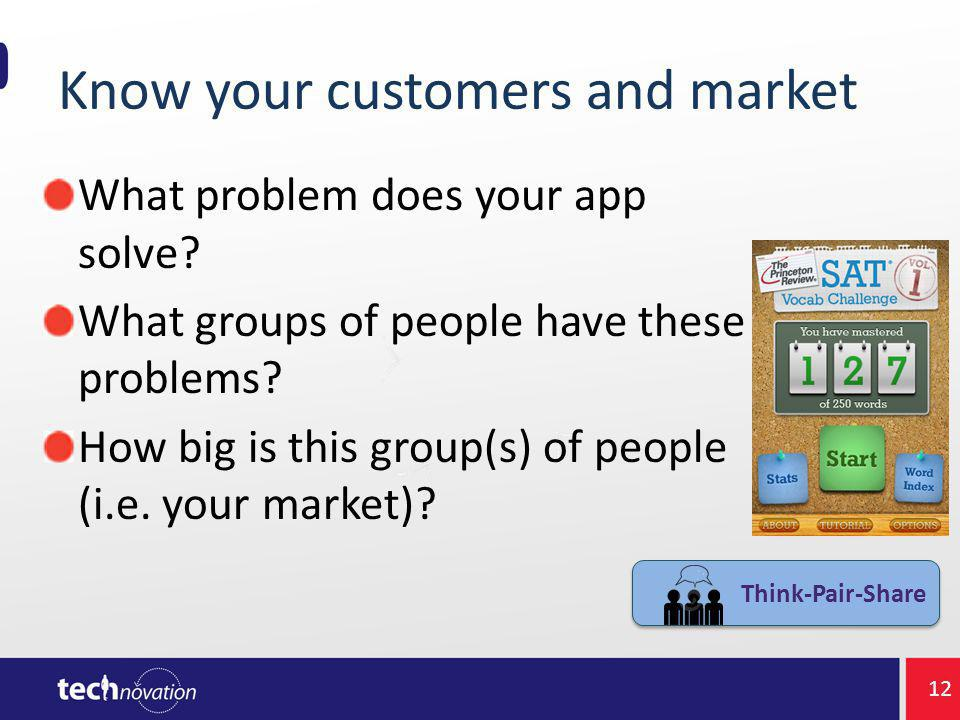 Know your customers and market What problem does your app solve.
