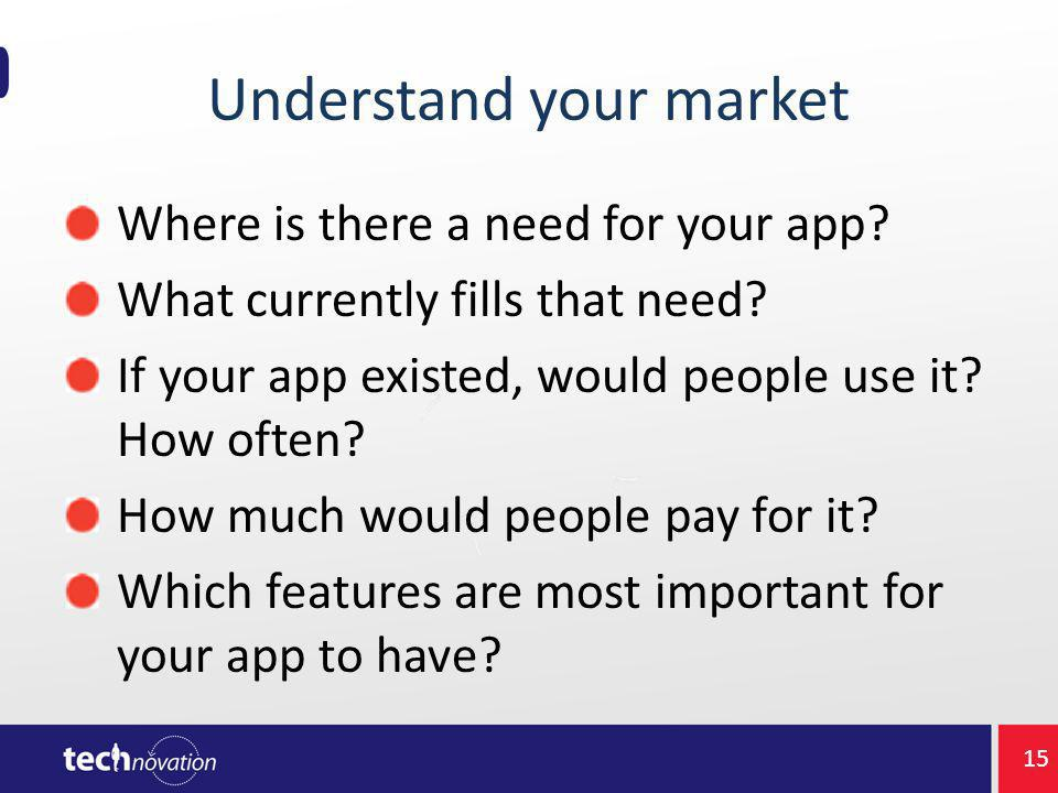 Understand your market Where is there a need for your app.