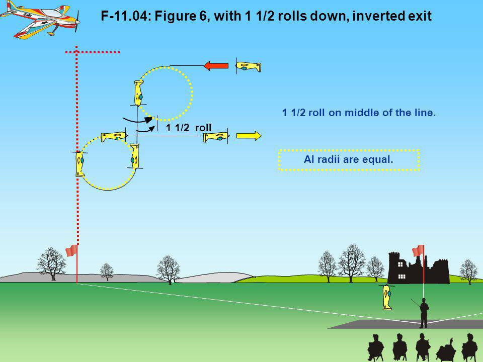 F-11.04: Figure 6, with 1 1/2 rolls down, inverted exit 1 1/2 roll on middle of the line. 1 1/2 roll Al radii are equal.