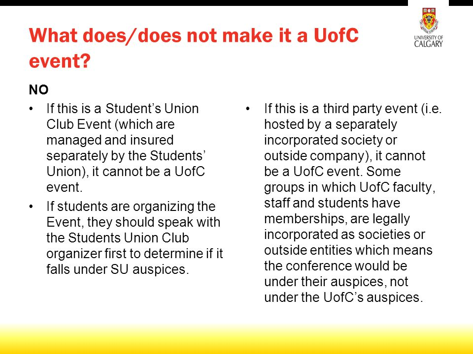 What does/does not make it a UofC event.