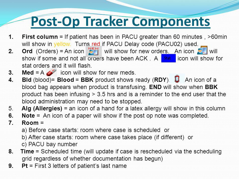 Post-Op Tracker Components 1.First column = If patient has been in PACU greater than 60 minutes, >60min will show in yellow.