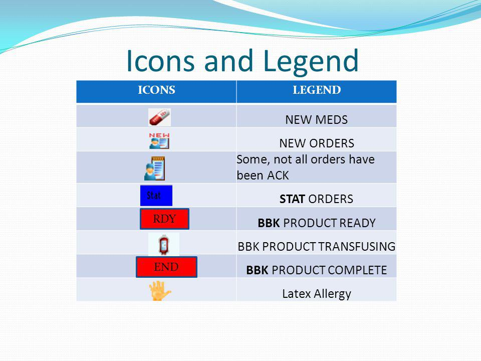 Icons and Legend ICONSLEGEND NEW MEDS NEW ORDERS Some, not all orders have been ACK STAT ORDERS BBK PRODUCT READY BBK PRODUCT TRANSFUSING BBK PRODUCT COMPLETE Latex Allergy RDY END