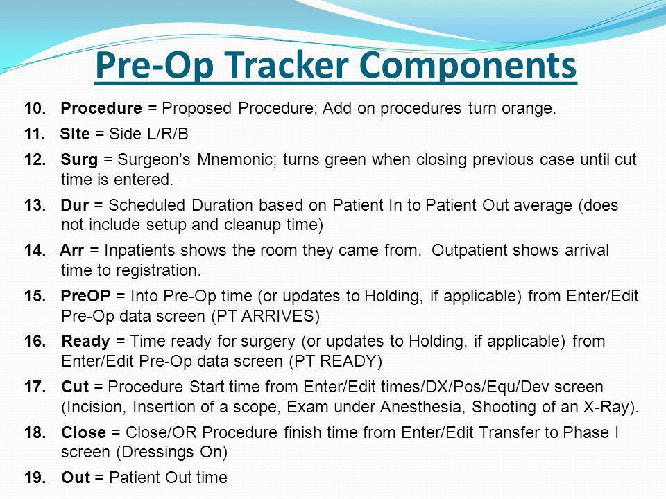 Pre-Op Tracker Components 10. Procedure = Proposed Procedure; Add on procedures turn orange.