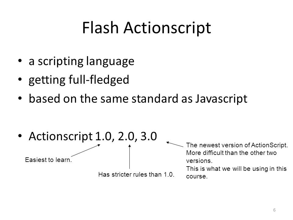 6 Flash Actionscript a scripting language getting full-fledged based on the same standard as Javascript Actionscript 1.0, 2.0, 3.0 Easiest to learn.