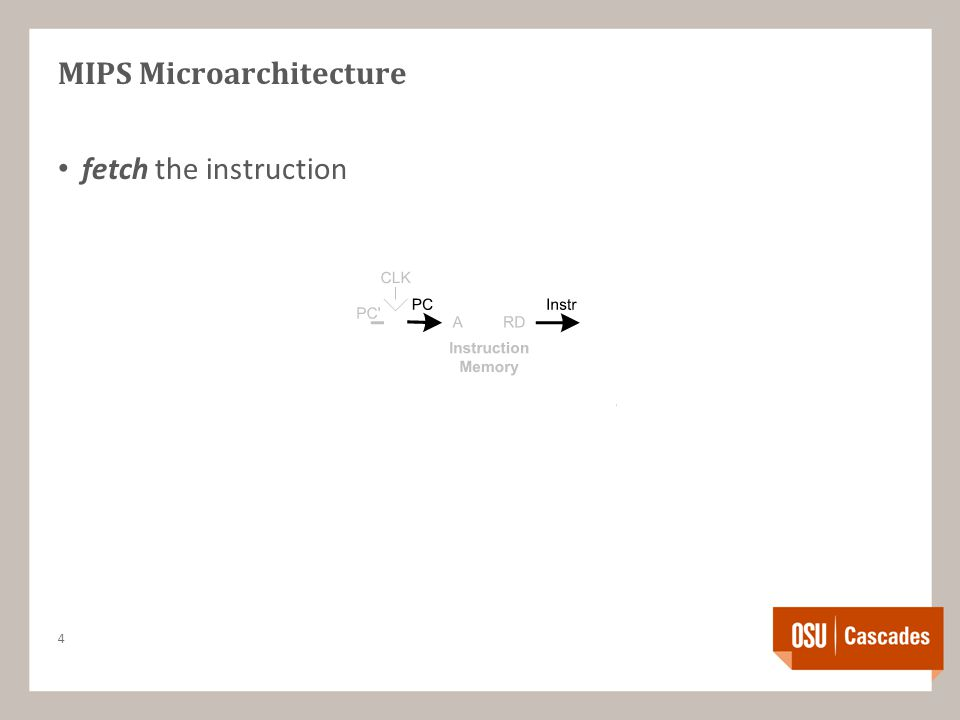 MIPS Microarchitecture fetch the instruction 4
