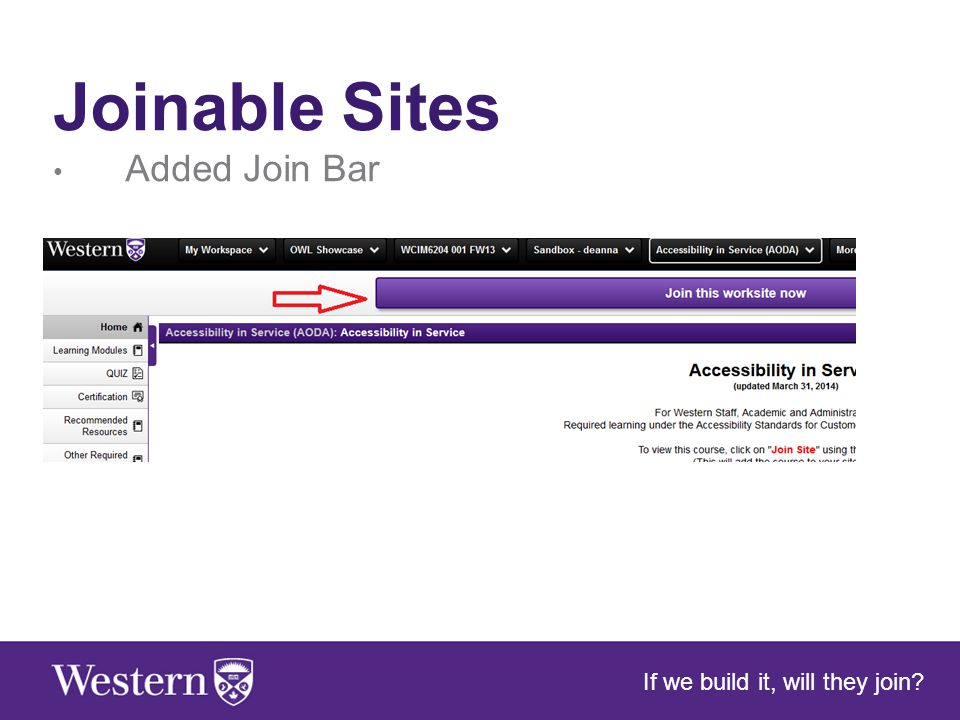 Joinable Sites Added Join Bar If we build it, will they join