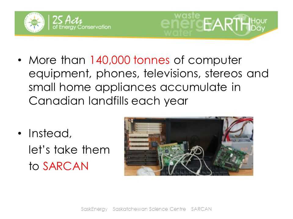 More than 140,000 tonnes of computer equipment, phones, televisions, stereos and small home appliances accumulate in Canadian landfills each year Inst