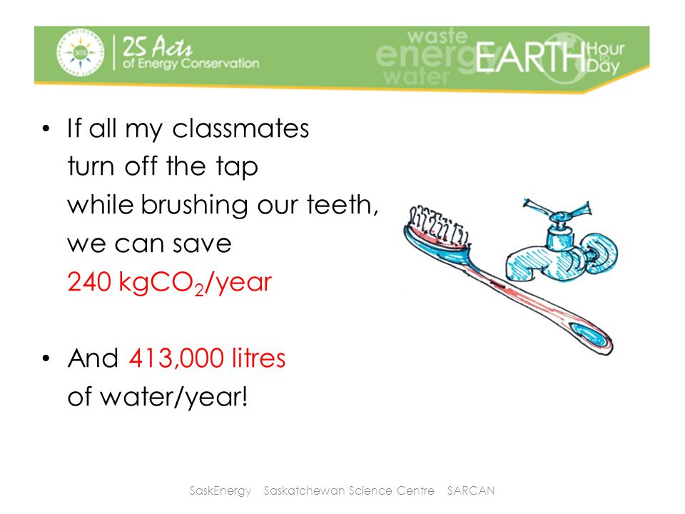 If all my classmates turn off the tap while brushing our teeth, we can save 240 kgCO 2 /year And 413,000 litres of water/year.