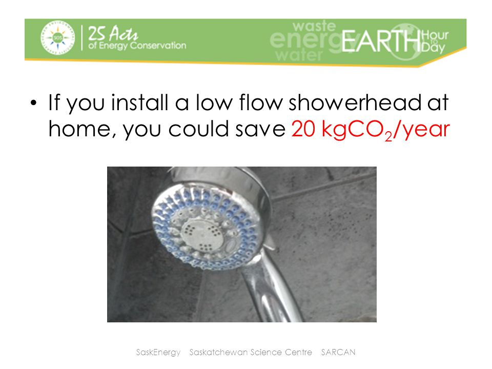 If you install a low flow showerhead at home, you could save 20 kgCO 2 /year SaskEnergy Saskatchewan Science Centre SARCAN