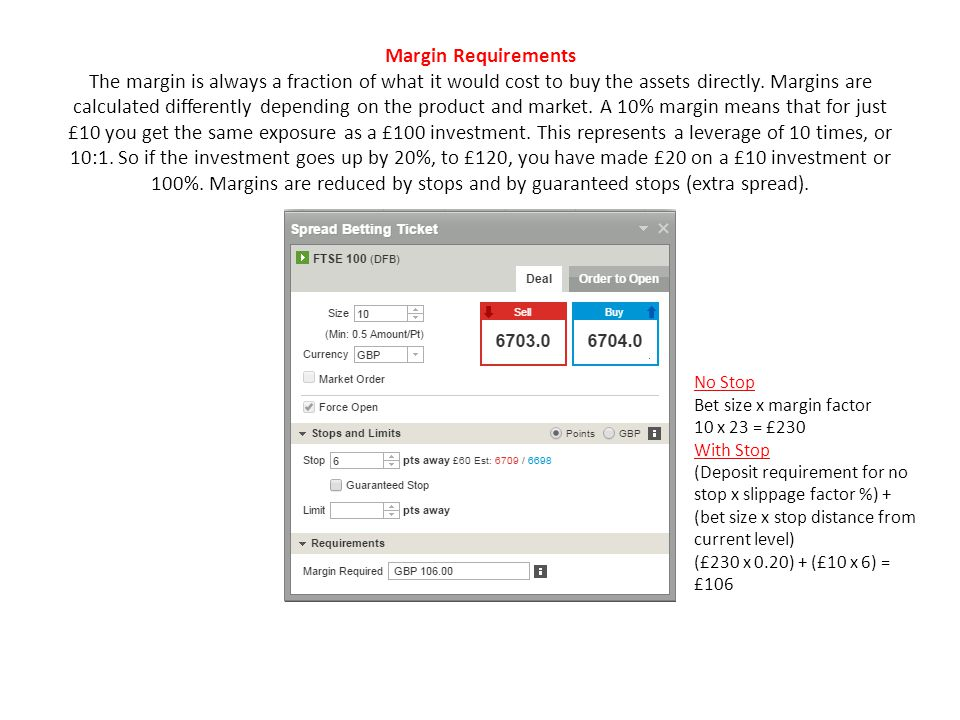 Margin Requirements The margin is always a fraction of what it would cost to buy the assets directly.