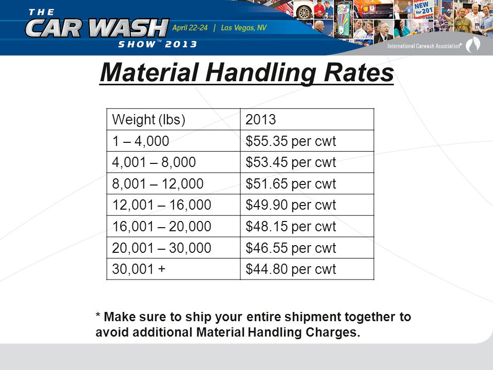 Material Handling Rates Weight (lbs)2013 1 – 4,000$55.35 per cwt 4,001 – 8,000$53.45 per cwt 8,001 – 12,000$51.65 per cwt 12,001 – 16,000$49.90 per cwt 16,001 – 20,000$48.15 per cwt 20,001 – 30,000$46.55 per cwt 30,001 +$44.80 per cwt * Make sure to ship your entire shipment together to avoid additional Material Handling Charges.