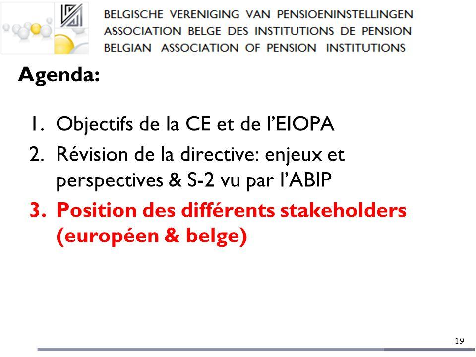 Agenda: 1.Objectifs de la CE et de l'EIOPA 2.Révision de la directive: enjeux et perspectives & S-2 vu par l'ABIP 3.Position des différents stakeholders (européen & belge) 19