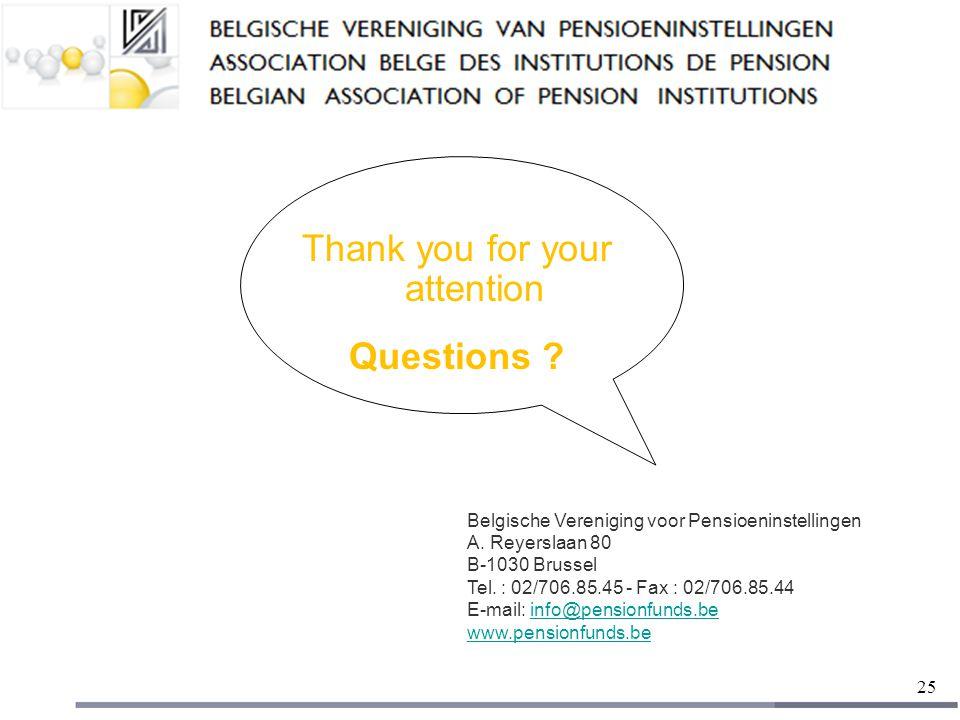 25 Thank you for your attention Questions . Belgische Vereniging voor Pensioeninstellingen A.
