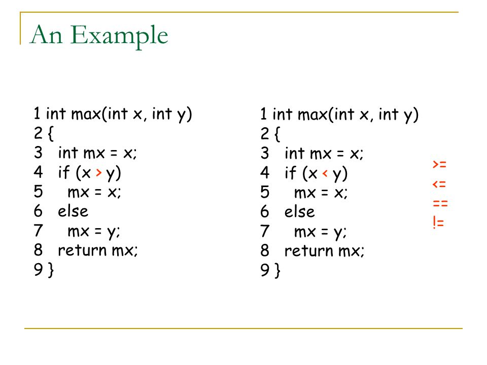 An Example 1 int max(int x, int y) 2 { 3 int mx = x; 4 if (x > y) 5 mx = x; 6 else 7 mx = y; 8 return mx; 9 } 1 int max(int x, int y) 2 { 3 int mx = x; 4 if (x < y) 5 mx = x; 6 else 7 mx = y; 8 return mx; 9 } >= <= == !=
