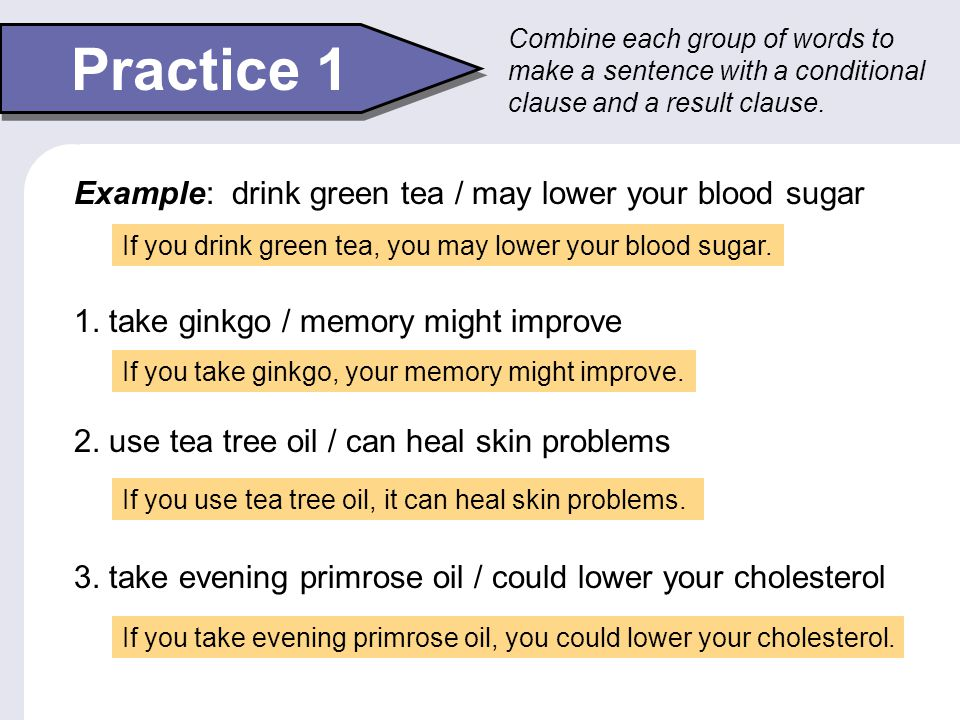 Use with Modals If you aren't sleeping well, you can drink chamomile tea. If you get a burn, you might use aloe gel. You can use modals in the result