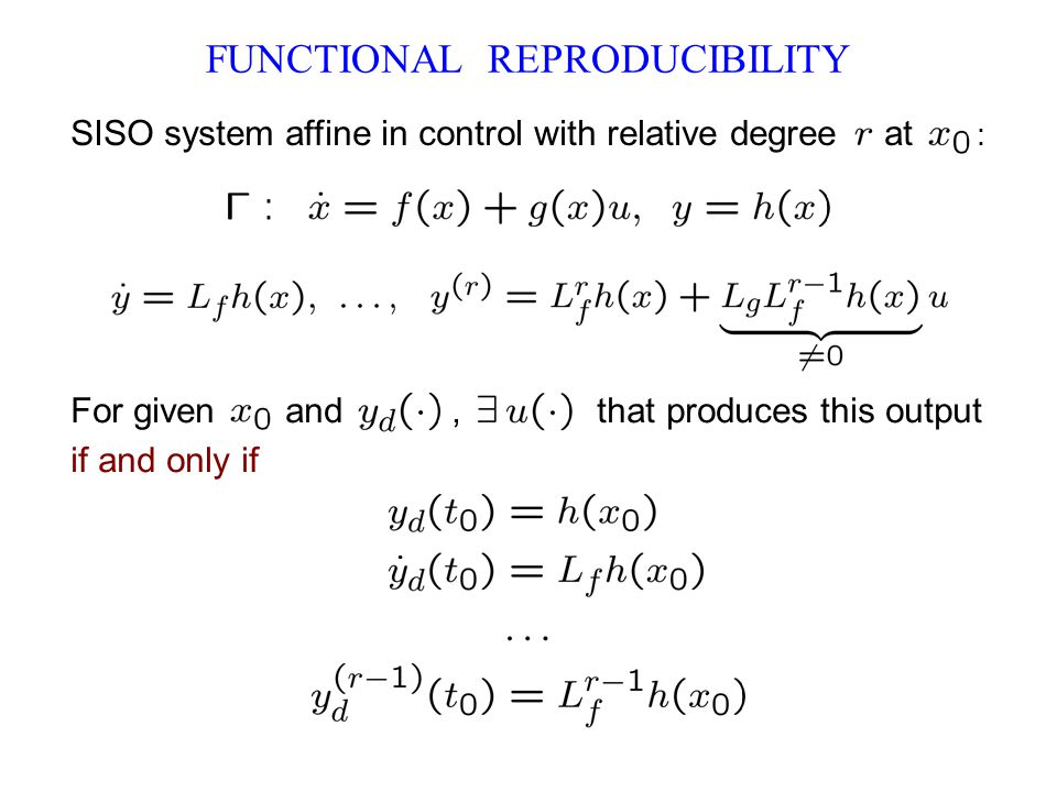 FUNCTIONAL REPRODUCIBILITY SISO system affine in control with relative degree at : For given and, that produces this output if and only if