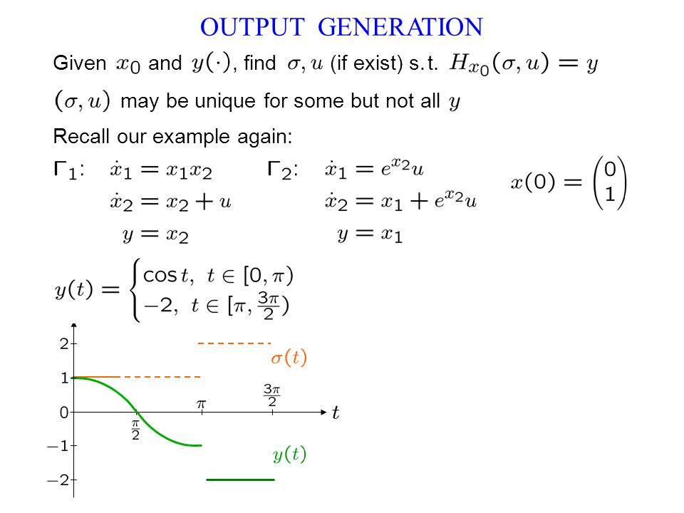 OUTPUT GENERATION Recall our example again: Given and, find (if exist) s.