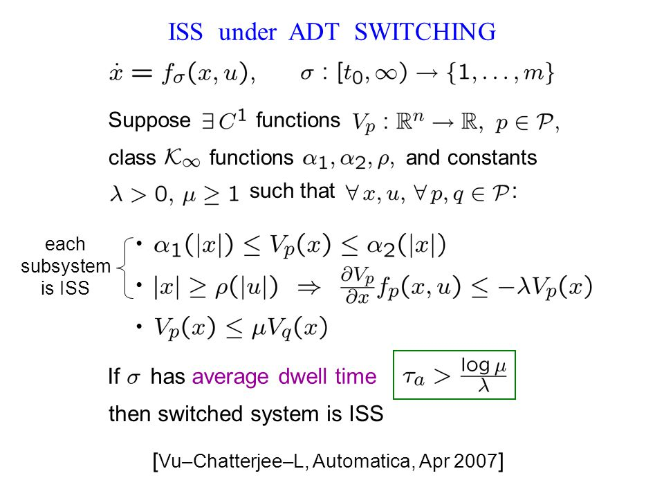 ISS under ADT SWITCHING each subsystem is ISS [ Vu–Chatterjee–L, Automatica, Apr 2007 ] If has average dwell time.