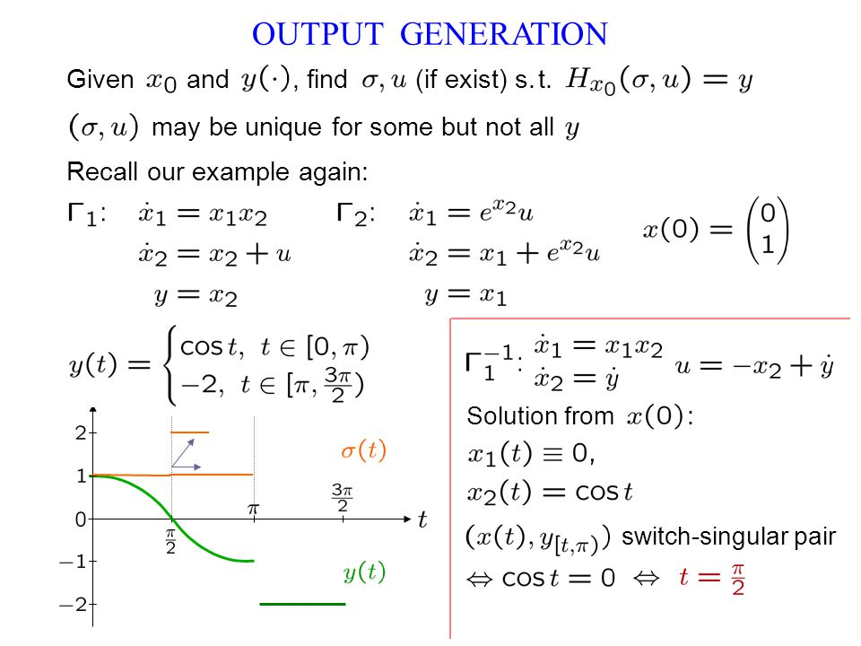 OUTPUT GENERATION Recall our example again: switch-singular pair Given and, find (if exist) s.